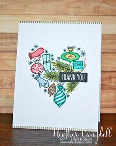 Christmas Thank You Card by @heathercampbell using #EssentialsbyEllen Autumn Acorns and Christmas Scribbles stamp sets. #ellenhutsonllc #AutumnAcorns #ChristmasScribbles