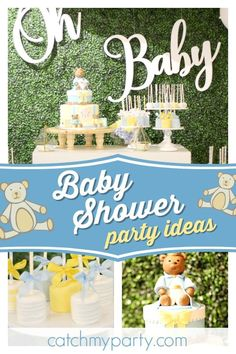 Check out this adorable teddy bear themed baby shower! The teddy bear cake is gorgeous!! See more party ideas and share yours at CatchMyParty.com #catchmyparty #partyideas #teddybear #babyshower