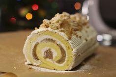 Une idée de buche de Noël de dernière minute, facile, façon crumble aux pommes caramélisées avec un biscuit japonais pour changer de la génoise qui peut etre cassante. Ici le biscuit reste très souple, on l'imbibe il est extrêmement moelleux. C'est un mix entre 2 desserts… la buche de Noël classique et le crumble aux …