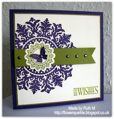 """Stamps: SU! Medallion stamp, SU! Vintage Frames, Everything Eleanor & Precious Butterflies sets, Best Wishes from Hobby Art  CS: SU! Elegant Eggplant, Old Olive & Very Vanilla  Ink: SU! Elegant Eggplant & Old Olive  Tools: SU! Beautiful Wings Embosslits die, SU! 1 3/4"""" scallop circle punch, MFT Fishtail Flags Stax die, paper piercing tool, Stamp-a-ma-jig  Embellishments & accessories: SU! Vintage brads, 3d foam tape  The card measures 5 3/4"""" square and the Old Olive strip is popped up."""