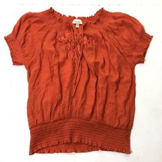 00d812d232d47 Women s Plus Size 3X Dressbarn Solid Orange Stretch Peasant Boho Blouse Top   Dressbarn  Blouse