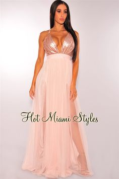 Blush Sequins CrissCross Mesh Maxi Dress