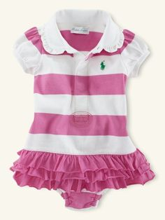Ralph Lauren baby girl ruffled striped dress in pink and white