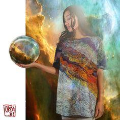 Felt Art By Kira Outembetova. ` Omega Nebula ` Tunic