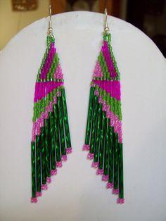 Native+American+Beaded+Green+Hot+Pink+Light+by+BeadedCreationsetc,+$17.00