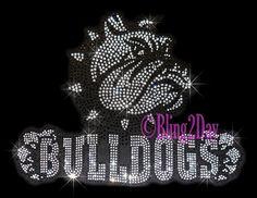 Bulldogs mascot  Rhinestone iron on transfer DIY applique