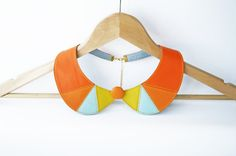 Orange and Yellow Leather Collar Necklace Peter Pan by SmArtAnna, $46.00