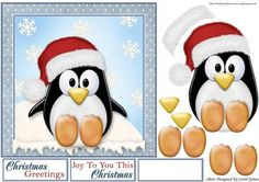 Cute Penquin on Craftsuprint designed by Carol James - A cute and simple 7 x 7 Christmas topper with decoupage pieces and 2 sentiment tags (plus a blank tag)Sentiments include:Christmas GreetingsJoy To You This Christmas - Now available for download!