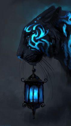 Dark Fantasy Art, Fantasy Artwork, Cute Fantasy Creatures, Mythical Creatures Art, Magical Creatures, Big Cats Art, Cat Art, Furry Art, Mystical Animals