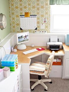 from bhg.com -  Keep Your Desk Clear - I want this computer area in my laundry / craft room... I like the computer too!