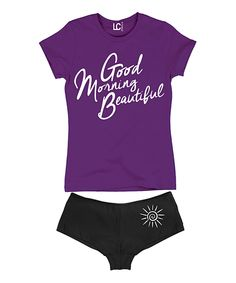 Look at this Purple 'Good Morning Beautiful' Top & Black Hipster on #zulily today!