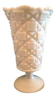 "Traditional Westmoreland Milk Glass 9 1/4"" Footed Vase on Chairish.com/shop/elizajax Traditional Westmorland White Vases, Traditional Vases, or Westmorland Vases, milk glass, milk glass vase, vintage, westmorland milk glass, quilt pattern, collectable, vintage"