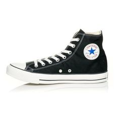 Adults' Converse Chuck Taylor All Star Canvas Hi Black | Shoe Carnival ❤ liked on Polyvore featuring shoes, sneakers, converse footwear, black shoes, black canvas shoes, canvas shoes and converse trainers