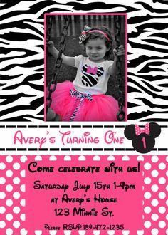 Maybe a Mickey and zebra Minnie bday party for Asher & Alexa...I looooove these invitations!!!!