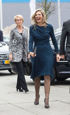 """Queen Maxima of The Netherlands wearing a dress by Danish designer Claes Iversen arrives for the """"Kracht On Tour"""" financial support workshops for women at the Fokker Terminal on November 2015 in. Get premium, high resolution news photos at Getty Images Beauty And Fashion, Fashion Looks, Royal Fashion, Womens Fashion, First Ladies, Dutch Queen, Royal Queen, Style Casual, Queen Maxima"""