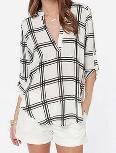 trendsgal   plaid chiffon blouse