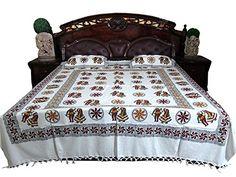 3p Indian Bedding Pillows Block Print White Brown Indi Hippie Bedspreads Mogul Interior http://www.amazon.com/dp/B00QRKNGTY/ref=cm_sw_r_pi_dp_.o2kvb0NHY2Z2
