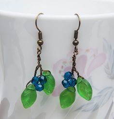 Green Blue Leaf Earrings Dangle Earring by CherylParrottJewelry