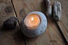 beach pebble candle holder planter beach house by Mihulli