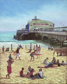 people on Bournemouth beach Pier theatre-oil painting of the pier Theartre on the beach at Bournemouth, Dorset, during the summertime with lots of holidaymakers enjoying the golden sands of the area. Artwork by artist Martin Davey. Available as a framed print or a rolled up print for you to frame. #bournemouth #beach #dorset #summer #beachpainting #sea #sand #art #painting