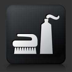 Black Square Button with Brush & Cream Icon vector art illustration