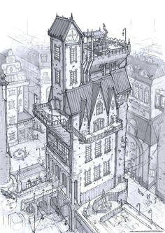 Concept Art Building Design Reference 28 Ideas For 2019 Building Drawing, Building Sketch, Building Design, Brick Building, Building Painting, Building Art, Environment Concept Art, Environment Design, Art Sketches