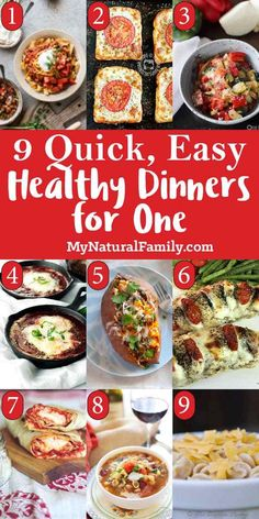 I love these ideas for healthy recipes for one person because they are flexible and practical and there are some good easy, dinner recipes for one on here. {Clean Eating} clean eating 9 Quick & Easy, Healthy Recipes For One Person - My Natural Family Easy Dinners For One, Healthy Dinner For One, Best Easy Dinner Recipes, Quick Easy Healthy Meals, Easy Chicken Dinner Recipes, Clean Eating Recipes For Dinner, Lunch Recipes, Easy One Person Meals, Recipes For One Person