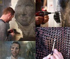 obras de arte con clavos