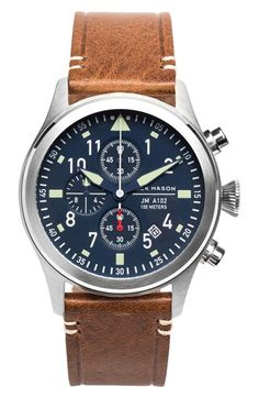 Jack Mason Brand Chronograph Leather Strap Watch, 42mm available at #Nordstrom