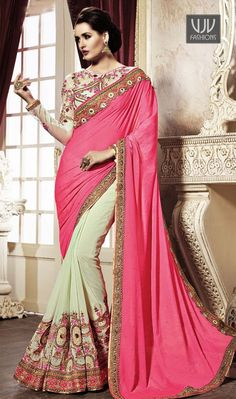Especial Pink And Cream Embroidered Work Georgette Designer Saree Real magnificence comes out of your dressing design with this cream georgette designer saree. The ethnic embroidered and patch border work for the apparel adds a sign of magnificence statement with a look