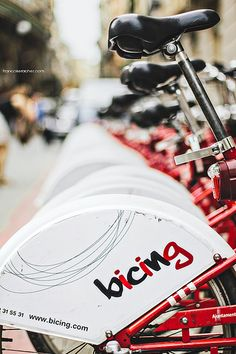 You can ride these bikes around and put them back at any bicing station in Barcelona, Spain. #convenient #bikinginbarcelona