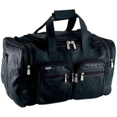 Genuine Leather 19 Carry-On Duffle Bag Black Overnight Luggage Suitcase Tote #Embassy #DuffleGymBag
