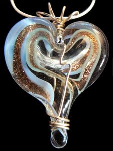 Periwinkle Blue with Gold Swirls & Clear Glass, Lampwork Hearts Within Hearts, wire wrapped in Sterling Silver. Please enjoy my Hearts!