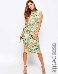 Imagen 1 de Vestido a media pierna con cinturón con mangas partidas y estampado floral de ASOS PETITE