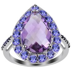 4.75 Carat Weight Genuine Amethyst Tanzanite and Spinel 925 Sterling Silver Ring