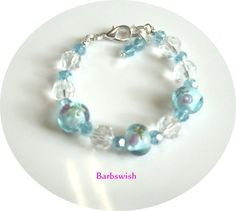 Hand Made Lampwork and Crystal Bead Bracelet and by Barbswish