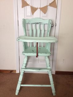 Painted high chair vintage high chair chalk painted