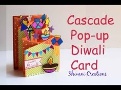 Diwali Popup Card/ Cascade Card for Diwali/ How to make Easy Diwali Greeting Card Diy Diwali Cards, Handmade Diwali Greeting Cards, Diwali Card Making, Pop Up Greeting Cards, Diwali Diy, Diwali Craft, Pop Up Cards, Cards Diy, Creative Birthday Cards