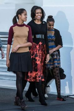 1st Lady Michelle Obama With Daughters Malia Obama & Sasha Obama With Bo Obama....