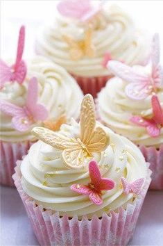 Wedding cupcakes by RuthBlack. Cupcakes decorated with pink and gold fondant but… Wedding cupcakes by RuthBlack. Cupcakes decorated with pink and gold fondant butterflies Butterfly Wedding Theme, Butterfly Birthday Party, Butterfly Baby Shower, Cake Birthday, Butterfly Garden Party, Butterfly Party Decorations, Birthday Ideas, Wedding Flowers, Birthday Parties