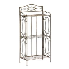Perfect in a bathroom, this charcoal-colored metal three-tier rack adds storage space for towels, magazines, and more. With its elegant twists and curves, it adds a level of sophistication and a polished look to any master or guest bathroom.