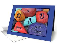 Birthday for Father from Son Colorful Painted Rocks card