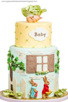 "A Beatrix Potter Baby Shower, ""Tale of the Flopsy Bunnies"" - by Sugar Sweet Cakes & Treats. Oh my God, my entire room was Beatrix Potter when I was little! Someone please do this when I have a baby ok?"
