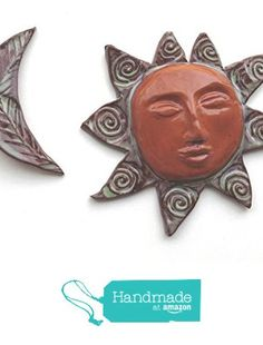 Sun and Crescent Moon Terracotta Ceramic Wall Hanging Sculpture from Cosmic Mermaid http://www.amazon.com/dp/B0195CZEWM/ref=hnd_sw_r_pi_dp_valAwb13F3M25 #handmadeatamazon