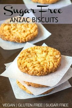 Sugar Free Anzac Biscuits- These Anzac biscuits are gluten free, sugar free and vegan and completely granulated sugar free! Gluten Free Anzac Biscuits, Healthy Anzac Biscuits, Sugar Free Biscuits, Sugar Free Baking, Sugar Free Vegan, Gluten Free Baking, Australian Cookies, Australian Food, Healthy Cake