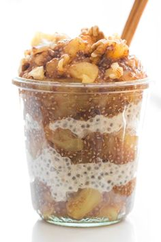Sugar-Free Apple Pie Chia Seed Jam + Parfait via ohsheglows.com