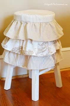 Ruffled Stool Cover in the Shop! - Cottage at the Crossroads