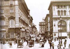Corso street at the end of 1800s ... (ita) http://www.romeandart.eu/it/arte-corso.html