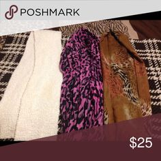 Scarves Pink and black is a infinity scarf, white is very fluffy, and animal print scarf is just beautiful!! Selling all 3 together! Will ship asap! Accessories Scarves & Wraps