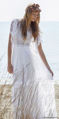 christos costarellos bridal spring 2016 romantic bohemian lace wedding dress flutter sleeves guipure dotted net -- Beautiful 2016 Wedding Dress Trends Part 2 Lace Beach Wedding Dress, Bohemian Wedding Dresses, Gorgeous Wedding Dress, Wedding Dress Sleeves, Lace Wedding, Chic Wedding, Post Wedding, Wedding Summer, Trendy Wedding